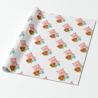 Pig With Party Attributes Girly Stylized Funky Wrapping Paper