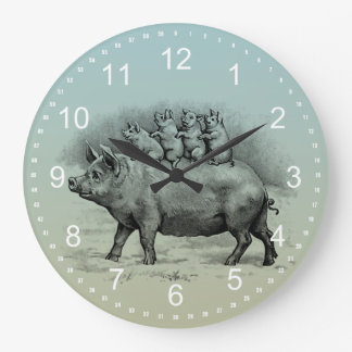Pig with Piglets Large Clock