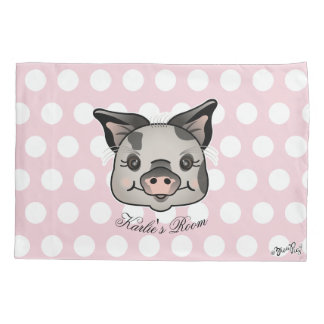 Pig With Polka Dots Pillowcase
