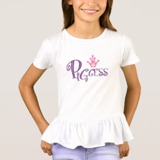 PIGCESS  CARTOON Girls' Ruffle T-Shirt