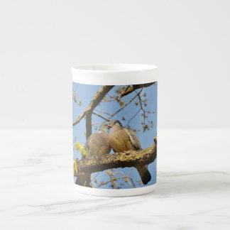 Pigeon Couple In Tree Bone China Mug