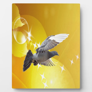 pigeon fly to love joy peace plaque