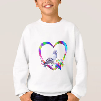 Pigeon in Colorful Heart Sweatshirt