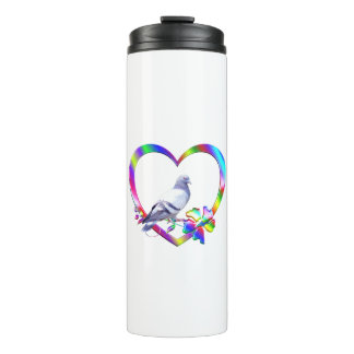 Pigeon in Colorful Heart Thermal Tumbler