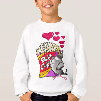Pigeon in love with a box of popcorn sweatshirt