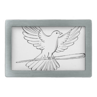 Pigeon or Dove Flying With Cane Drawing Belt Buckle