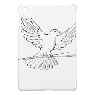 Pigeon or Dove Flying With Cane Drawing iPad Mini Cases