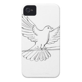 Pigeon or Dove Flying With Cane Drawing iPhone 4 Case