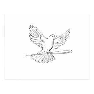 Pigeon or Dove Flying With Cane Drawing Postcard
