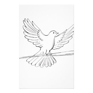 Pigeon or Dove Flying With Cane Drawing Stationery
