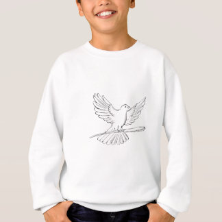 Pigeon or Dove Flying With Cane Drawing Sweatshirt