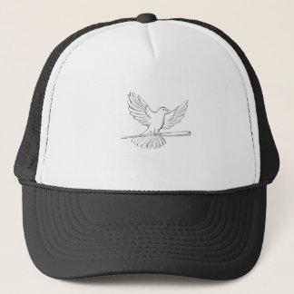 Pigeon or Dove Flying With Cane Drawing Trucker Hat