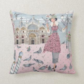 Pigeons Birds Vintage Girl   Cotton Throw Pillow