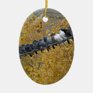 Pigeons Ceramic Oval Ornament
