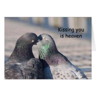 Pigeons Kiss - Frameable Art Card