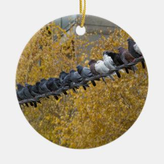 Pigeons Round Ceramic Ornament