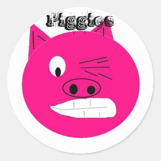 piggie head, Piggies Classic Round Sticker