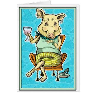 piggy 2 greeting card
