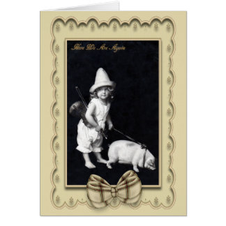 Piggy and I Vintage Photography Greetings Card