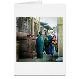 Piggy Backing to Prayer Time at Local Temple Japan Card