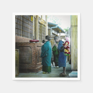 Piggy Backing to Prayer Time at Local Temple Japan Disposable Napkins