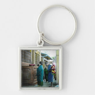 Piggy Backing to Prayer Time at Local Temple Japan Keychain