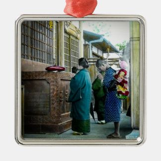 Piggy Backing to Prayer Time at Local Temple Japan Metal Ornament