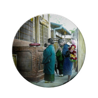 Piggy Backing to Prayer Time at Local Temple Japan Porcelain Plate