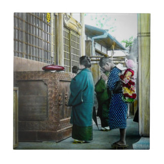 Piggy Backing to Prayer Time at Local Temple Japan Tile