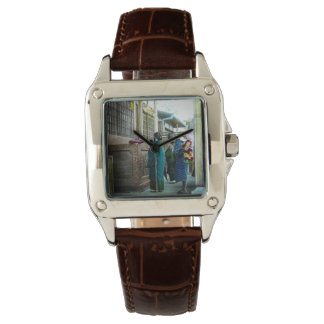 Piggy Backing to Prayer Time at Local Temple Japan Wristwatches