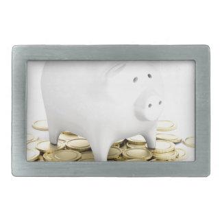 Piggy bank and coins belt buckles