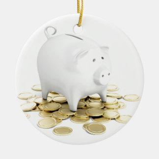 Piggy bank and coins ceramic ornament
