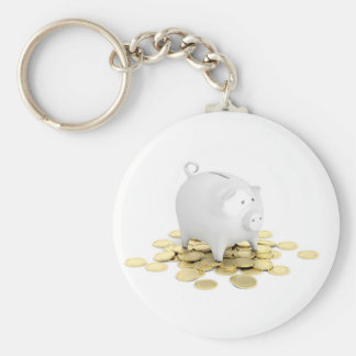 Piggy bank and coins keychain