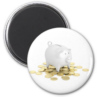 Piggy bank and coins magnet