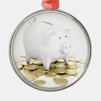 Piggy bank and coins metal ornament
