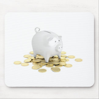 Piggy bank and coins mouse pad