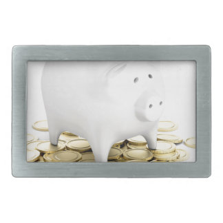 Piggy bank and coins rectangular belt buckle