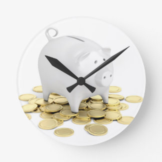 Piggy bank and coins round clock
