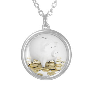 Piggy bank and coins silver plated necklace