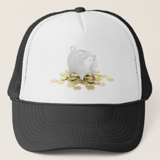 Piggy bank and coins trucker hat