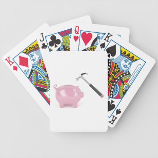 Piggy bank and hammer bicycle playing cards