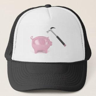 Piggy bank and hammer trucker hat