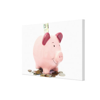 Piggy bank stretched canvas print