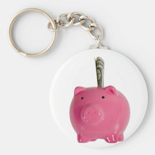 Piggy bank with money key chain