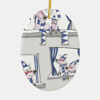 piggy blues forever ceramic ornament