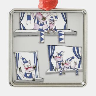 piggy blues forever metal ornament