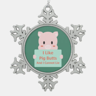Piggy Butts Snowflake Pewter Christmas Ornament
