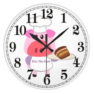Piggy Chef  Round (Large) Wall Clock