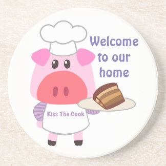 Piggy Chef Sandstone Drink Coaster