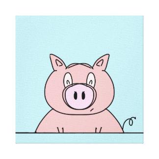 Piggy Close Up Cartoon Design Artwork Canvas Print